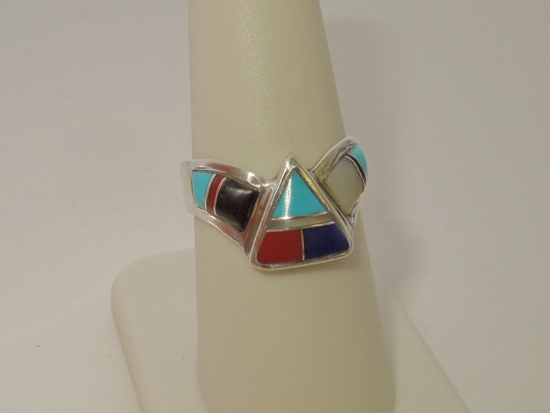 Turquoise Lady's Silver & Stone Ring 925 Silver 3.4g