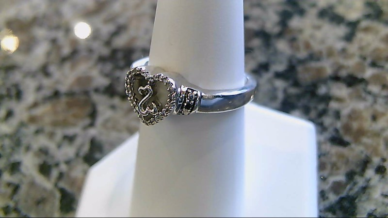 Lady's Silver-Diamond Ring 26 Diamonds .140 Carat T.W. 925 Silver 4.4g Size:6.8