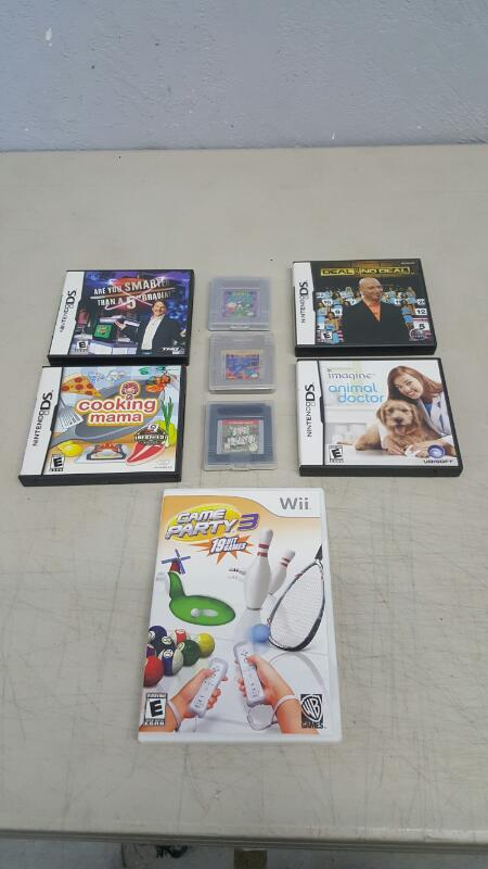 Lot of 8 Nintendo Wii, DS, Game Boy Games - Kirby, Tetris, Deal, Party
