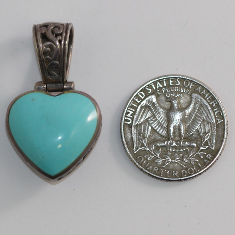 Reversable Sterling Silver Turquoise Heart Pendant