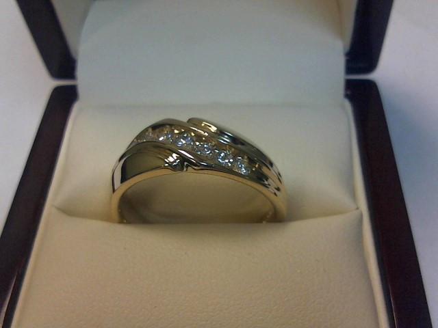 Gent's Gold-Diamond Wedding Band 7 Diamonds .56 Carat T.W. 14K Yellow Gold