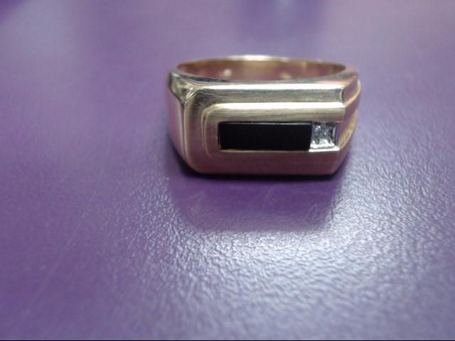 Onyx Gent's Stone & Diamond Ring .01 CT. 10K Yellow Gold 5.2g Size:10