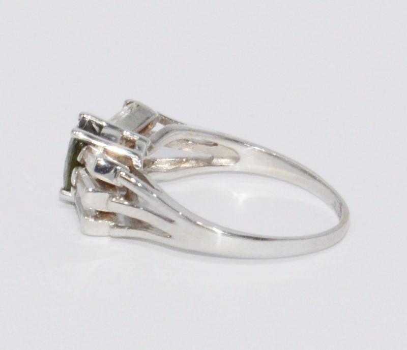 14K White Gold Cathedral Set Dark Green Peridot & Baguette Diamond Sunburst Ring