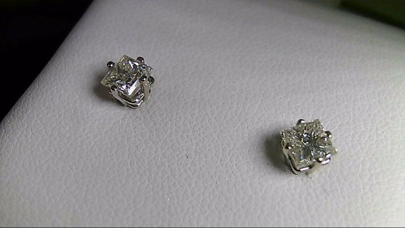 Graded I I1 Princess Cut Diamond 14K White Gold Diamond Stud Earrings