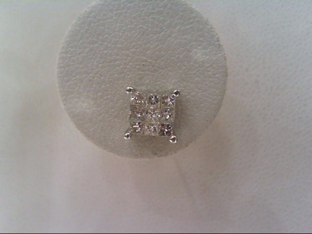 Gold-Diamond Earrings 18 Diamonds 1.26 Carat T.W. 14K White Gold 1.7g
