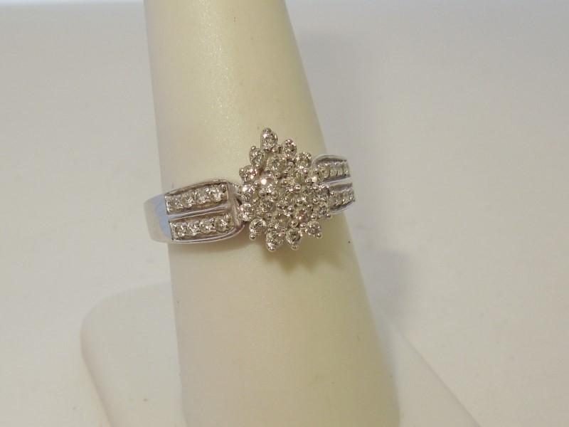 Lady's Diamond Fashion Ring 38 Diamonds .76 Carat T.W. 10K White Gold 3.9g