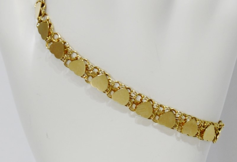 "6.5"" 14K Yellow Gold Polished Hearts Tennis Chain Bracelet"