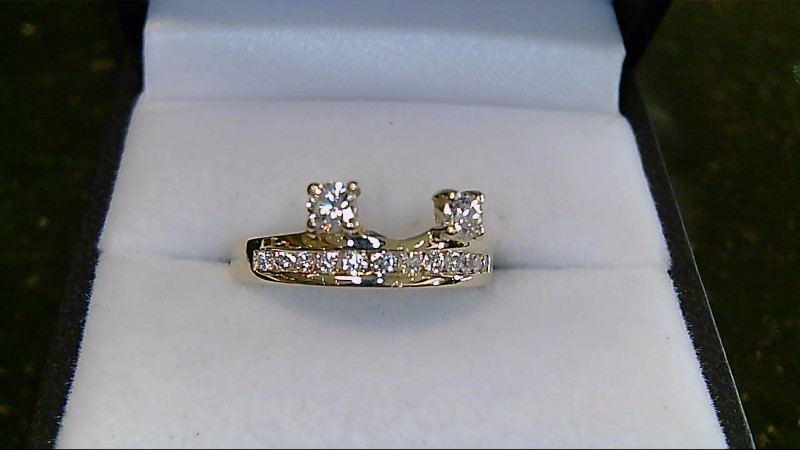 Lady's 14k yellow gold apx. .35cttw round diamond ring guard sz 6