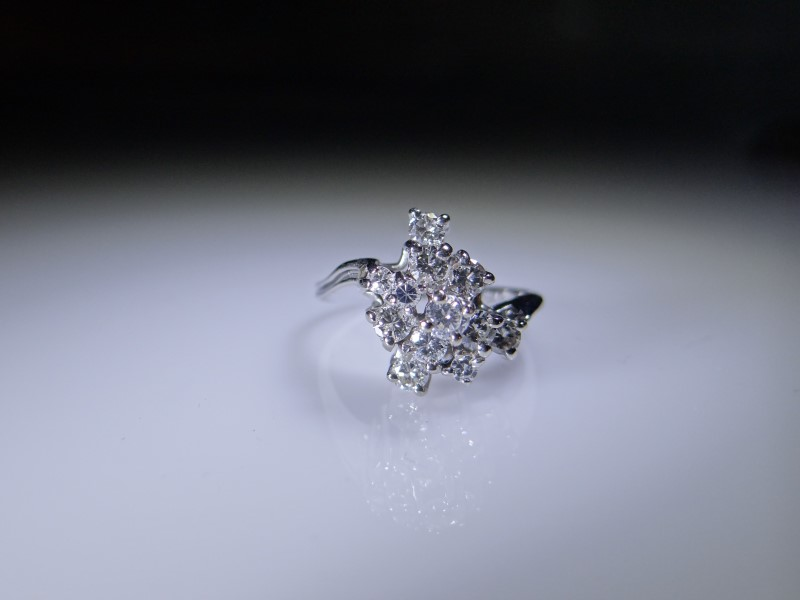 Lady's Diamond Cluster Ring 12 Diamonds .78 Carat T.W. 14K White Gold 3g