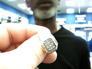 Lady's Diamond Cluster Ring 12 Diamonds .36 Carat T.W. 10K Yellow Gold 8.3g