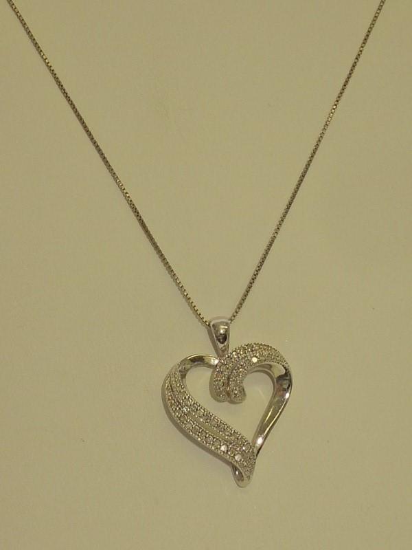 Diamond Necklace 40 Diamonds .40 Carat T.W. 925 Silver 2.3g