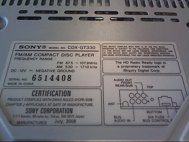 SONY Car Audio CDX-GT330