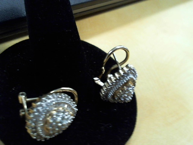 Gold-Diamond Earrings 50 Diamonds .50 Carat T.W. 10K Yellow Gold 5.6g
