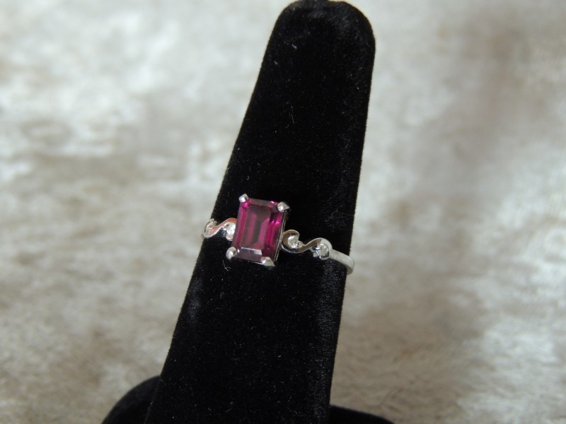 Synthetic Garnet Lady's Stone & Diamond Ring