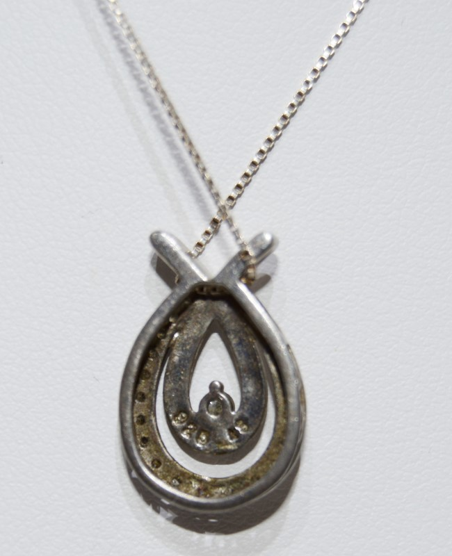 Silver Diamond Necklace w/ Abstract Pendant