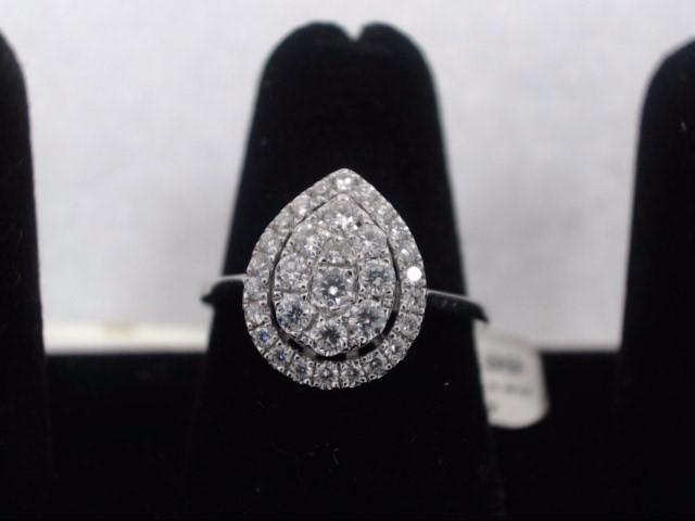 Lady's Diamond Cluster Ring 34 Diamonds .50 Carat T.W. 14K White Gold 2.9g