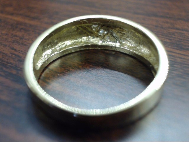 VINTAGE 3 STONE CLUSTER WED RING BAND SOLID REAL 14K GOLD MEN SZ 7.5