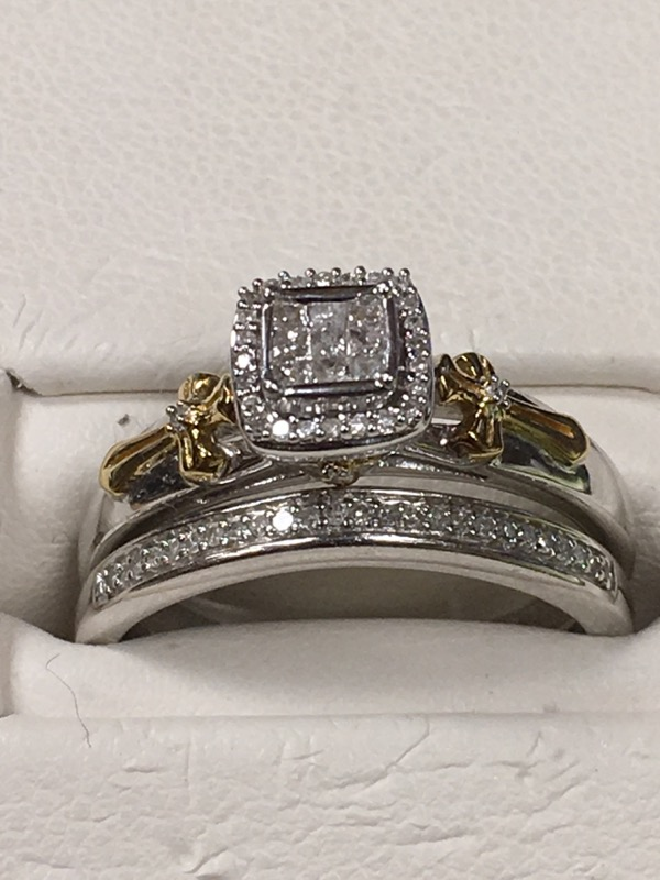 Lady's Silver-Diamond Ring 9 Diamonds .45 Carat T.W. 925 Silver 3.1dwt Size:6.75