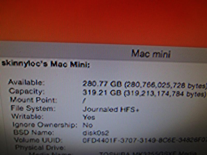 APPLE A1347 MAC MINI 4gb ram/320gb HD/INTEL DUO 2.4GHz