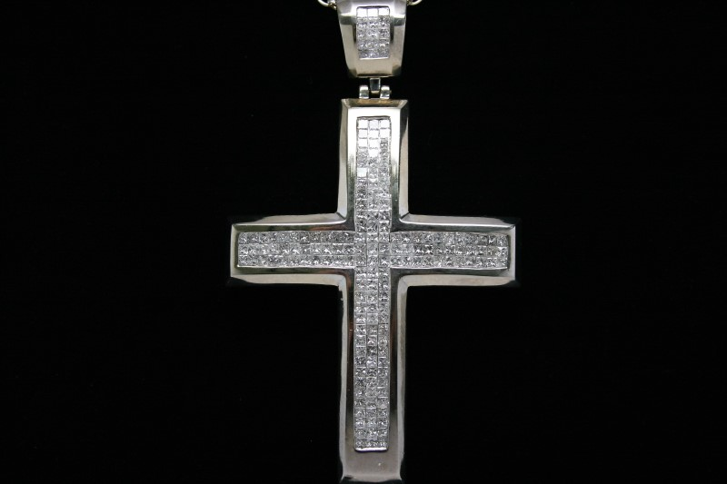 PRINCESS CUT DIAMOND CROSS 14K WHITE GOLD