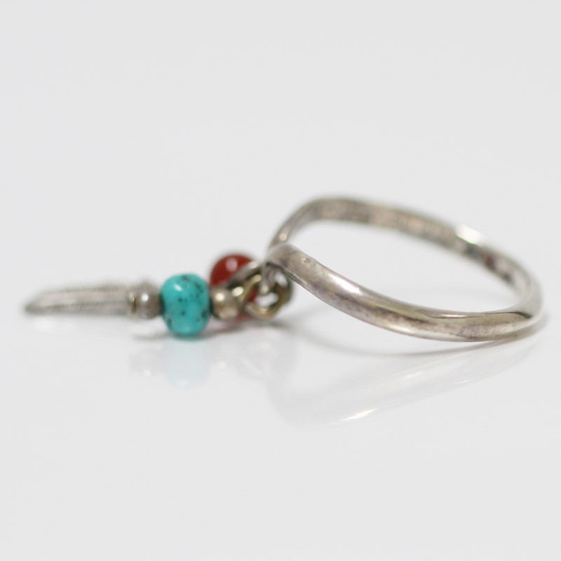 Sterling Silver Tribal Dangling Feather Turquoise & Red Bead Ring Size 5.75