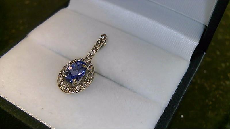 Lady's 10k white gold tanzanite and diamond pendant