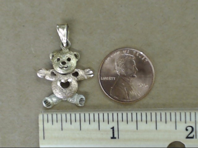 TEDDY BEAR LOVE HEART PENDANT CHARM SOLID REAL TRI COLOR 14K GOLD 2g