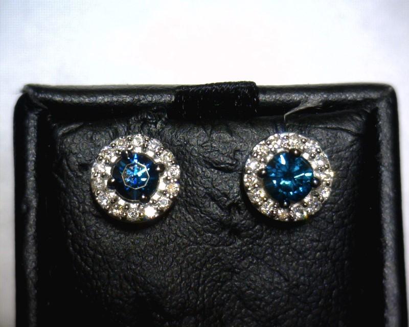 Gold-Diamond Earrings 30 Diamonds .68 Carat T.W. 14K White Gold 1.2dwt