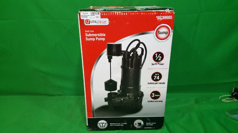 UtiliTech 090ECD518 1/2 HP up to 74 GPM Cast Iron Submersible Sump Pump - NEW!