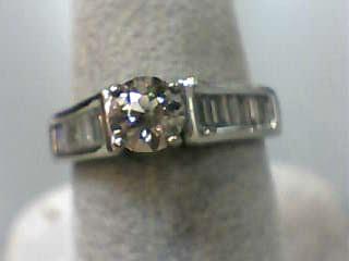 Lady's Diamond Engagement Ring 15 Diamonds 1.15 Carat T.W. 14K White Gold