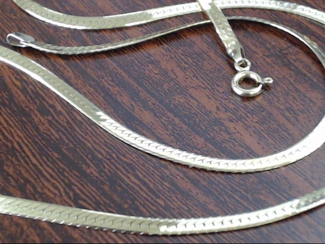 VINTAGE HERRINGBONE NECKLACE CHAIN REAL 14K GOLD ITALY 7.4g 20.5""