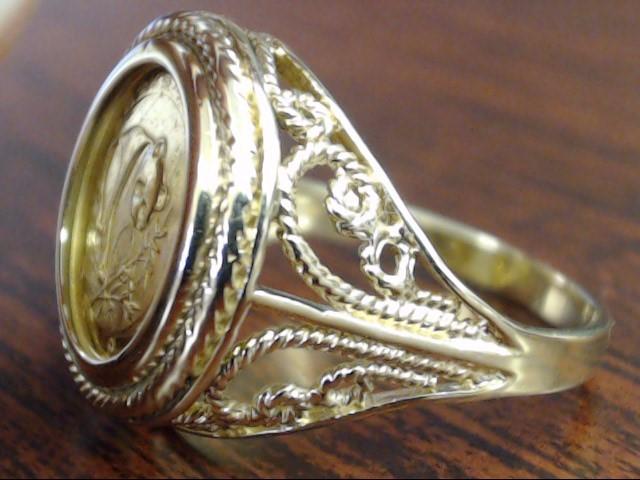 1988 PANDA COIN RING 14K YELLOW GOLD BEZEL SET 5.9g SIZE 9