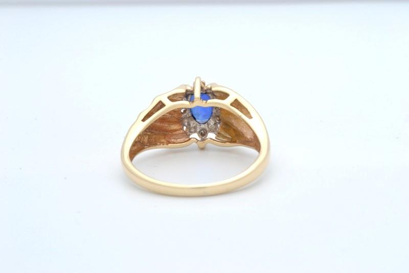 ESTATE DIAMOND BLUE GEM RING SOLID 10K GOLD HALO SET OVAL CUT SIZE 7