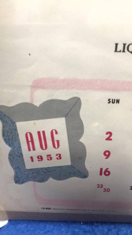 AUGUST 1953 CALENDAR GIRL BILL'S BAR