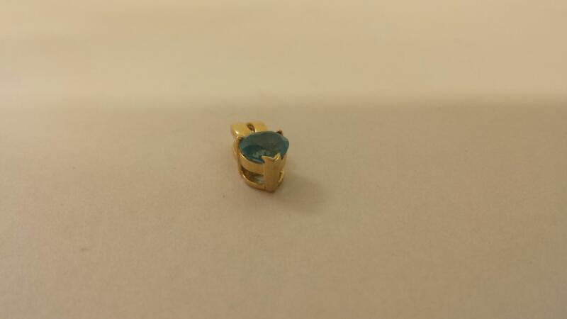10K-Y/G Blue Stone Heart Pendant