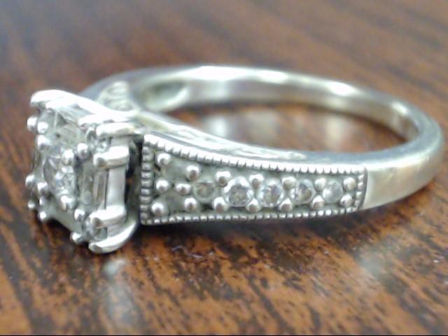 ESTATE KEEPSAKE DIAMOND ENGAGE WED RING SOLID 14K WHITE GOLD SIZE 7