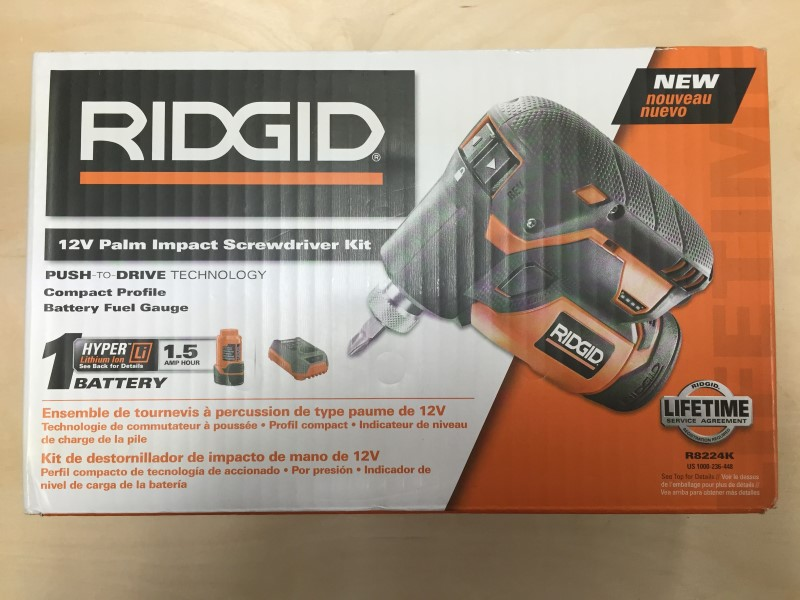 RIDGID 12-V LITHIUM-ION 1/4 IN. CORDLESS PALM IMPACT SCREWDRIVER KIT