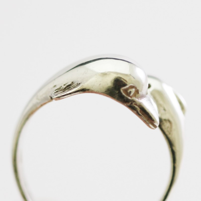Women's Sterling Silver Dolphin Mother & Child Ring Size 9.3