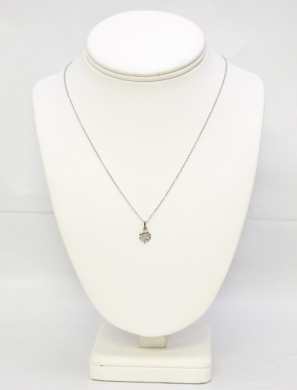 Dainty Sterling Silver 4 Four Leaf Clover Pendant Necklace 18""