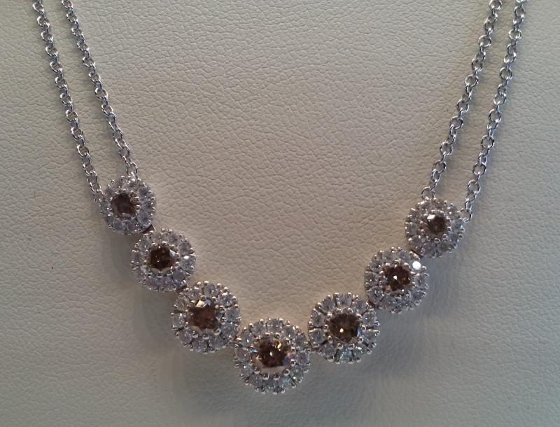 18K Mutli-Stone Halo Diamond Necklace 16""