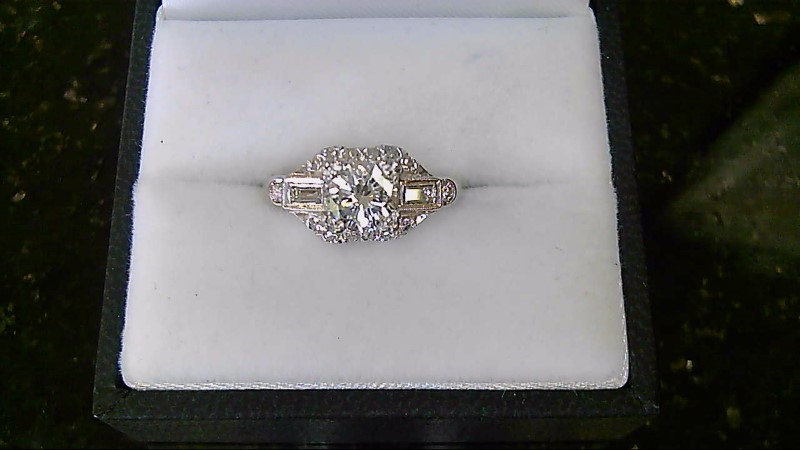 Lady's Diamond Engagement Ring 17 Diamonds .99 Carat T.W. 14K White Gold 5g