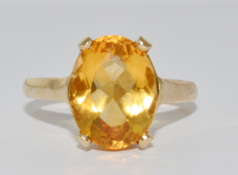 14K Yellow Gold Cathedral Set Oval Citrine Solitaire Cocktail Ring sz 7.25
