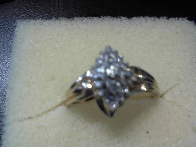 Lady's Diamond Cluster Ring 25 Diamonds .25 Carat T.W. 14K Yellow Gold 3.14g