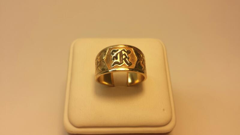 "10k Yellow Gold Ring ""K"" 5.1dwt - Size 9"