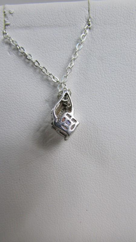 14K GP .925 NECKLACE WITH AUTENTIC STONE AND DIAMONDS