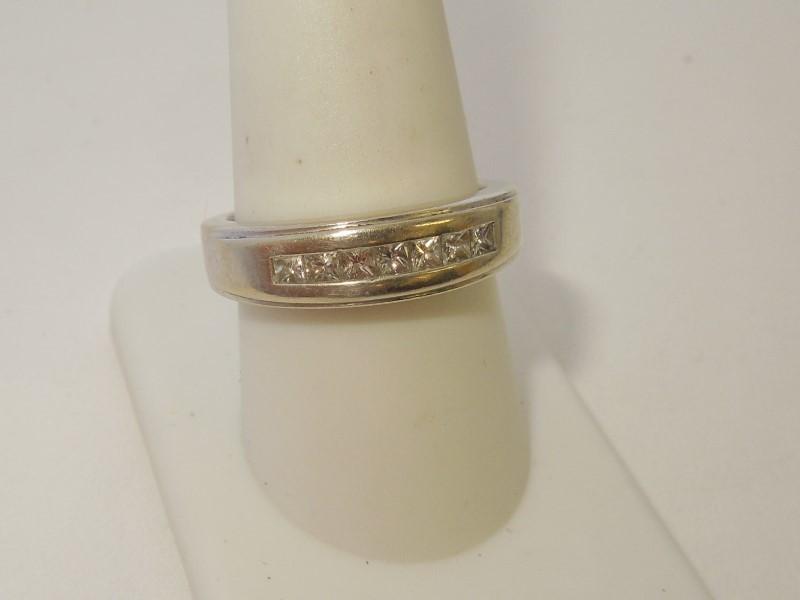 Gent's Gold-Diamond Wedding Band 7 Diamonds .56 Carat T.W. 14K White Gold 7.1g