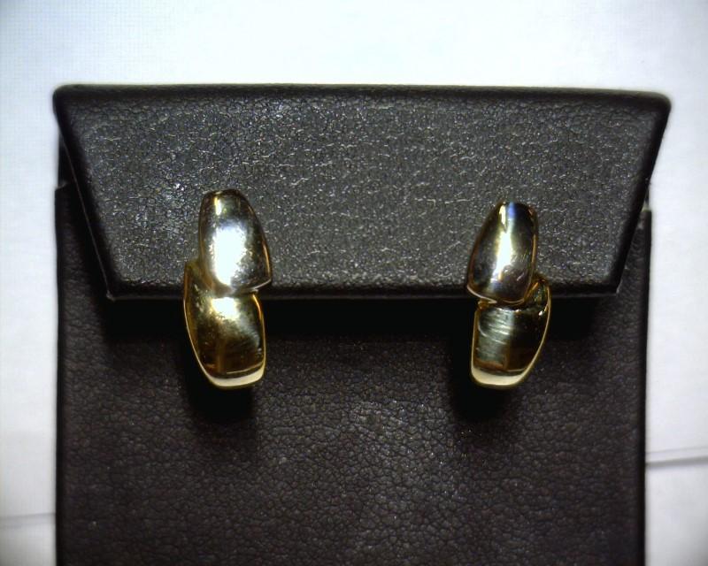 Gold Earrings 14K 2 Tone Gold 1.8dwt