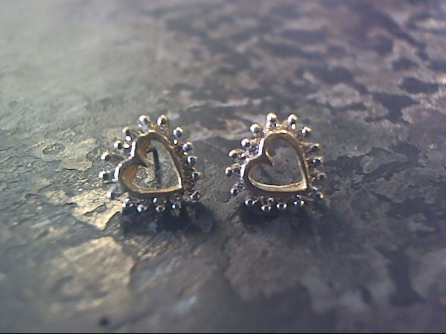 White Stone Gold-Stone Earrings 10K Yellow Gold 1.1dwt