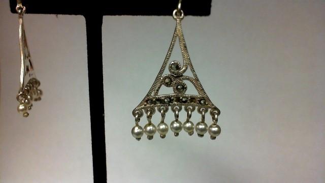 Synthetic Hematite Silver-Stone Earrings 925 Silver 4.5g