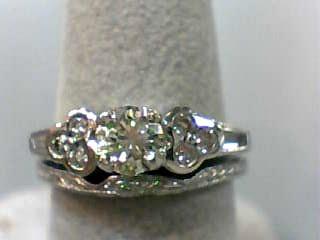Lady's Diamond Wedding Set 9 Diamonds .88 Carat T.W. 14K White Gold 4.3dwt